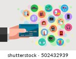 man's hand is holding a plastic ...   Shutterstock .eps vector #502432939