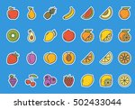 fruits icon set stickers | Shutterstock .eps vector #502433044