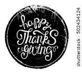 happy thanksgiving lettering ... | Shutterstock .eps vector #502434124