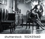 seductive man and his wifes... | Shutterstock . vector #502435660