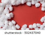 soft cotton wool on red paper... | Shutterstock . vector #502437040