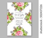 romantic pink rose bridal... | Shutterstock .eps vector #502437226