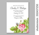 romantic pink rose bridal... | Shutterstock .eps vector #502437250