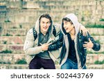 young hipster brothers having... | Shutterstock . vector #502443769