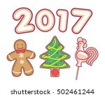 gingerbread man  christmas tree ... | Shutterstock .eps vector #502461244