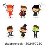 happy halloween   cute kids... | Shutterstock .eps vector #502497280