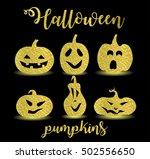 set of halloween golden... | Shutterstock .eps vector #502556650