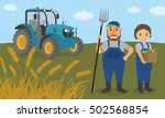 farmer couple and agricultural... | Shutterstock .eps vector #502568854