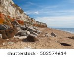 hunstanton cliffs in norfolk... | Shutterstock . vector #502574614