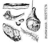 vector meat steak sketch... | Shutterstock .eps vector #502577176