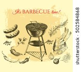 vector hand drawn barbecue and... | Shutterstock .eps vector #502584868