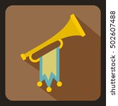 trumpet with flag icon in flat... | Shutterstock . vector #502607488