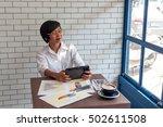 young businessmen sit across...   Shutterstock . vector #502611508