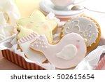 delicious baby shower cookies ... | Shutterstock . vector #502615654