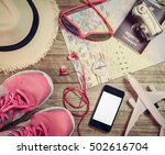 travel concept with personal... | Shutterstock . vector #502616704