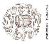 set of sketch vintage beer... | Shutterstock . vector #502618918