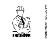 engineer drawing vector logo... | Shutterstock .eps vector #502629199