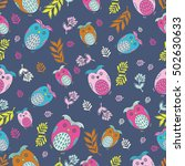 seamless cartoon owls pattern | Shutterstock .eps vector #502630633