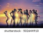 dancing girls silhouettes... | Shutterstock . vector #502644910