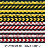 danger ribbons set. yellow... | Shutterstock .eps vector #502645840