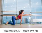young woman doing yoga... | Shutterstock . vector #502649578