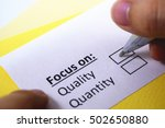 focus on quality. quality is... | Shutterstock . vector #502650880