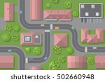seamless pattern. city top view.... | Shutterstock .eps vector #502660948