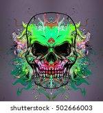 skull on colored background | Shutterstock . vector #502666003