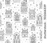 winter snowy houses seamless... | Shutterstock .eps vector #502666339