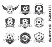 set of football vintage soccer... | Shutterstock .eps vector #502666894