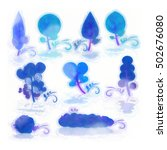 watercolor set with blue... | Shutterstock . vector #502676080