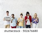 diversity friends using digital ... | Shutterstock . vector #502676680