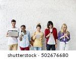 diversity friends using digital ... | Shutterstock . vector #502676680