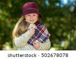 beautiful girl in a burgundy...   Shutterstock . vector #502678078