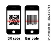 smartphone scan qr code and bar ... | Shutterstock .eps vector #502684756