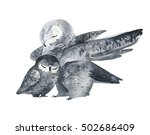 Stock photo owl and a baby watercolor technique forest animals hand painted realistic illustration isolated 502686409
