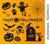 halloween elements. happy... | Shutterstock .eps vector #502696114