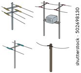 vector set of electric pole | Shutterstock .eps vector #502698130