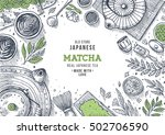 Stock vector japanese tea ceremony tea table background engraved style illustration matcha tea vector 502706590