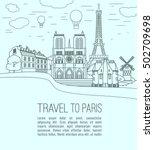 paris landmarks collection.... | Shutterstock .eps vector #502709698