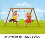 playground. children swinging... | Shutterstock .eps vector #502711408