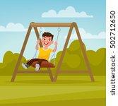 playground. happy boy swinging... | Shutterstock .eps vector #502712650