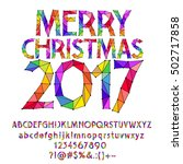 vector patched rainbow merry... | Shutterstock .eps vector #502717858