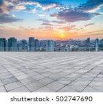 empty floor with modern skyline ... | Shutterstock . vector #502747690