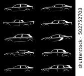 set of white silhouette car on... | Shutterstock .eps vector #502752703