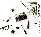 flat lay feminine arrangement... | Shutterstock . vector #502772749