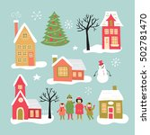 christmas holiday hand drawing... | Shutterstock .eps vector #502781470