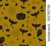 vector halloween seamless... | Shutterstock .eps vector #502782730