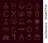 set of halloween icons. vector... | Shutterstock .eps vector #502807924