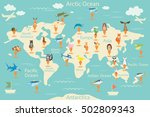 animals  map of the world.... | Shutterstock .eps vector #502809343